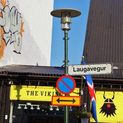 Laugavegur, the main shopping street in central Reykjavik