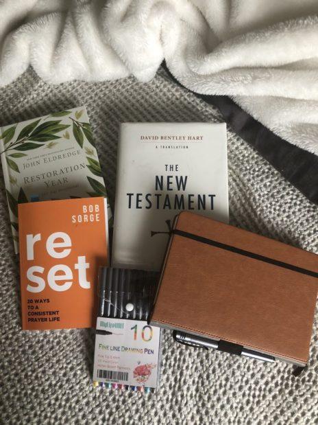 Bible, journal, pens, deviotional