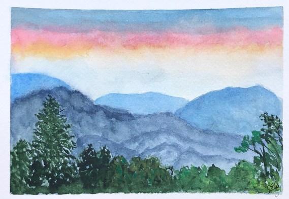 Original watercolor mountains