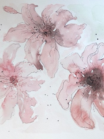 abstract lilies watercolor