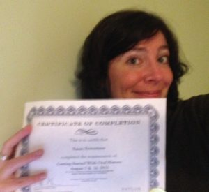 Showing off my certificate of completion