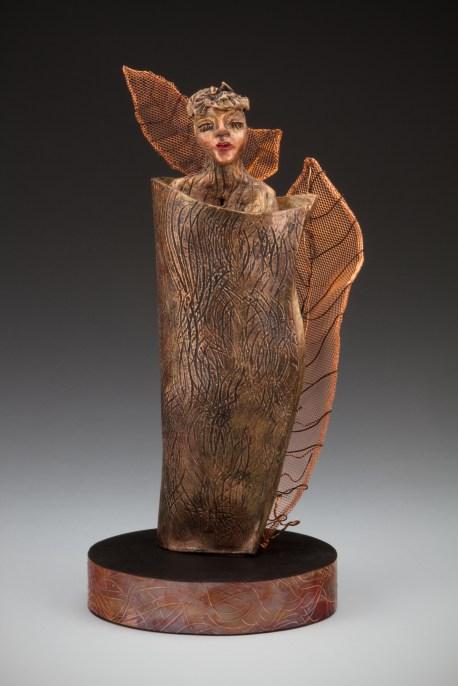 Leaf Lady, clay, copper screening, wire