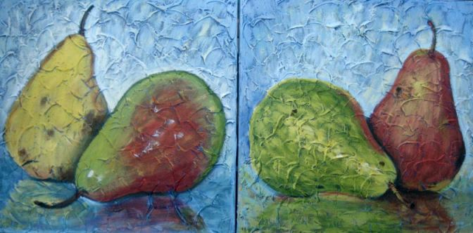 """2 Pairs of Pears, Diptych, Acrylic on canvas, 16"""" x 32"""" in two pieces, 2009"""