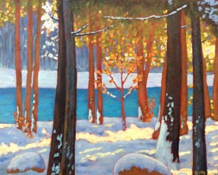 "Along the Maitland River. Near Benmiller, Ont., acrylic on texturized canvas, 16"" x 20"""