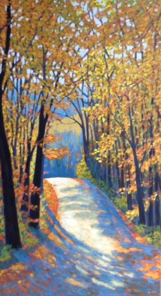"Autumn Glory on Boice Bradley Road, acrylic on texturized canvas, 36"" x 20"" SOLD"