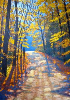 "Autumn Glory on Boice Bradley Road, acrylic on texturized canvas, 36"" x 26"""