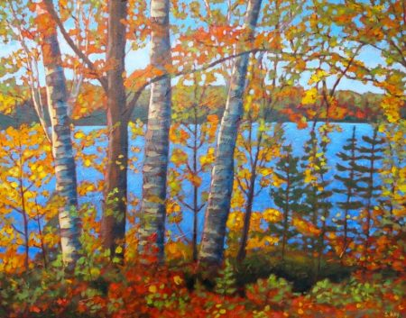 "Autumn Glory on Wenona Lake, acrylic on texturized canvas, 22"" x 28"""