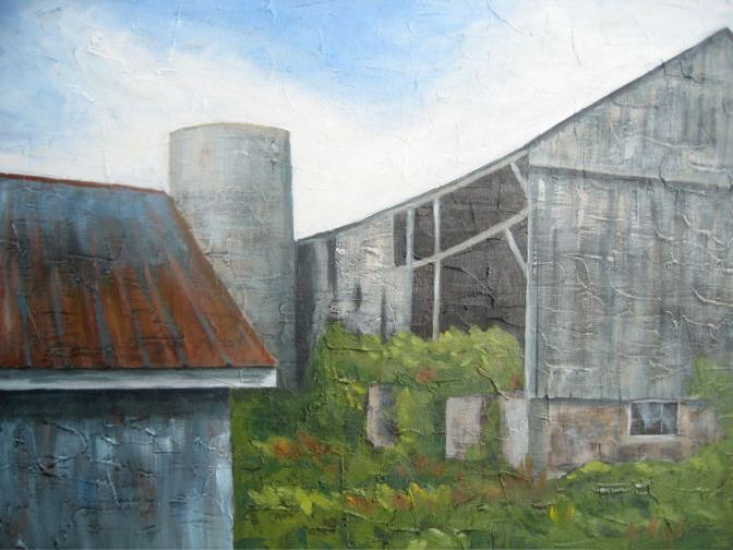 """Barn Collection, acrylic on canvas, 16"""" x 20"""", 2008 SOLD"""