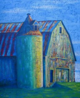 """Barn in Wild Colours, acrylic on canvas, 18"""" x 24"""", 2009 SOLD"""