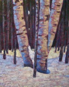 """Birch clump in Winter, acrylic on texturized canvas, 34"""" x 30"""", 2011 SOLD"""