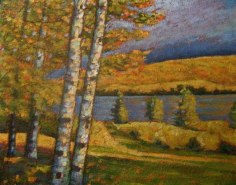 "Portage Lake in Autumn, acrylic on texturized canvas, 24 x 30"", 2011"