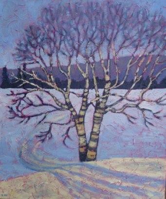 """Birch at Sir Sam's, acrylic on texturized canvas, 20"""" x 24"""", 2011"""