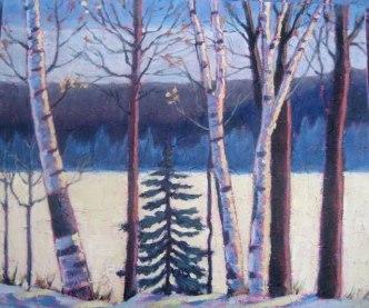 "Birches along Frozen Lake, acrylic on texturized canvas, 20"" x 24"", 2011"