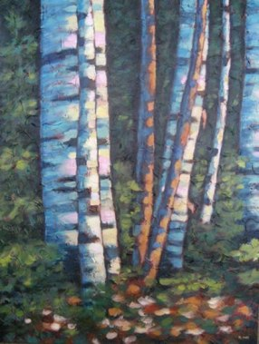 """Birches in the Glade, acrylic on texturized canvas, 40"""" x 30"""", 2011"""