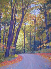 "Boice Bradley Rd. in Autumn #2, acrylic on canvas, 24"" x 32"" SOLD"