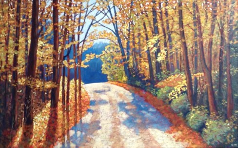 "Boice Bradley Road in Autumn, acrylic on texturized canvas, 30"" x 48"""