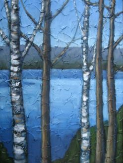 "Looking out over Drag Lake in April, acrylic on texturized canvas, 18"" x 24"", 2009"