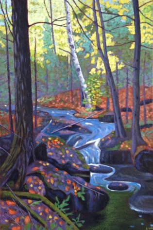 "Waterfall near Haliburton, acrylic on canvas, 18 x 24"", 2017"