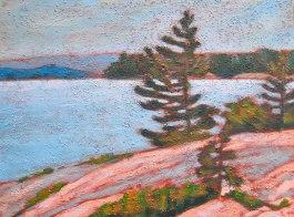 """Georgian Bay scene, acrylic on texturized canvas, 12"""" x 16"""", 2011 SOLD"""