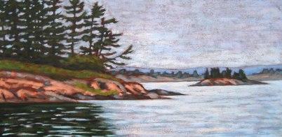 """Georgian Bay scene, acrylic on texturized canvas, 18"""" x 36"""", 2011"""
