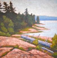 """Georgian Bay scene, acrylic on texturized canvas, 24 x 24"""", 2012"""