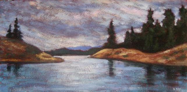 "Georgian Bay series #3, acrylic on texturized canvas, 10"" x 20"", 2010, by Susan Hay"