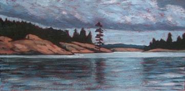 "Cloudy Day on Georgion Bay, 12"" x 24"", acrylic on texturized canvas, 2011 SOLD"