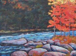 "Gull River in autumn, acrylic on texturized canvas, 18"" x 24"", 2011"