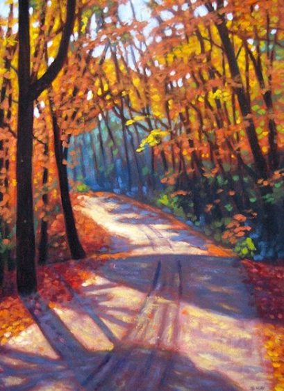 "Boice Bradley Road in Autumn #4 acrylic on canvas, 30"" x 22"""