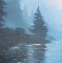 "Misty Morning on Mary Lake, acrylic on canvas, 18"" x 18"""