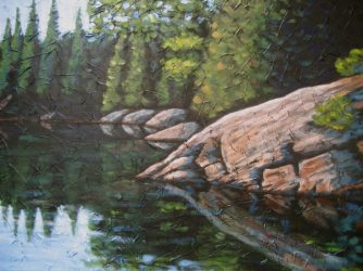 "Haliburton Reflections 2, acrylic on canvas, 30"" x 40"", 2008"