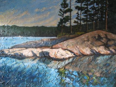 "Haliburton Reflections 3, acrylic on canvas, 30"" x 40"", 2008 SOLD"