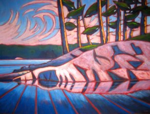 "Haliburton Reflections, Abstracted, acrylic on canvas, 30"" x 40"", 2011"