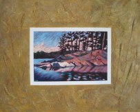 """Haliburton Reflections, collaged frame; acrylic on texturized canvas, collaged papers and fabrics, 24"""" x 30"""", 2011"""