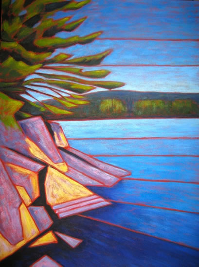 "Haliburton scene, abstracted #1, Acrylic on canvas, 30"" x 40"", 2011 SOLD"