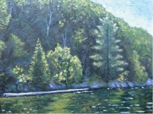 "Haliburton Shoreline with log, acrylic on texturized canvas, 30"" x 40"", 2010"
