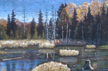 "Swampland across from Portage Lake in Autumn, acrylic on texturized canvas, 24"" x 36"", 2011"