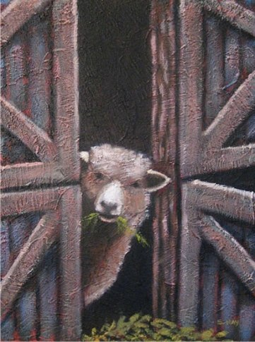 """Little Sheep, 12"""" x 16"""", acrylic on texturized canvas, 2011 SOLD"""