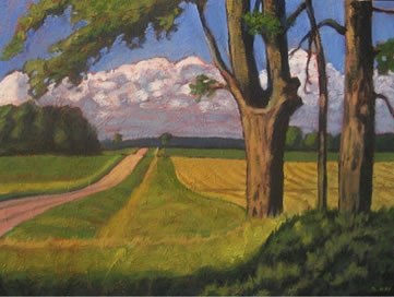 """Old Maples, Along Dutch Line, 20"""" x 24"""", acrylic on texturized canvas, 2011 SOLD"""