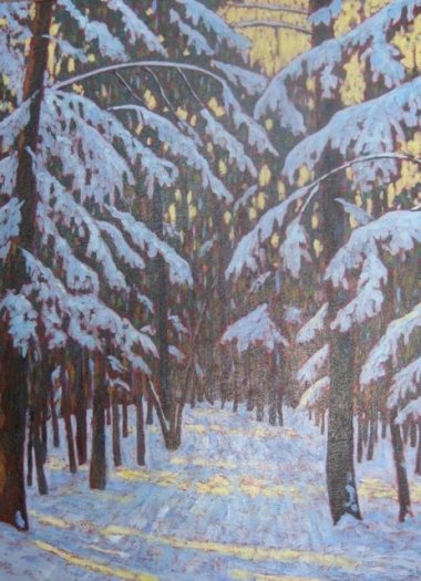 """Winter in Benmiller, acrylic on texturized canvas, 22"""" x 28"""""""