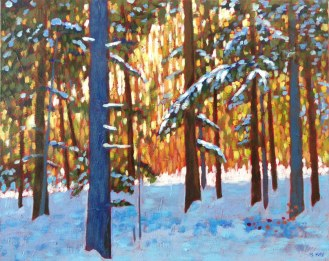 """In the woods near Benmiller, Ont., acrylic on texturized canvas, 16"""" x 20"""""""