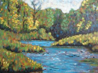 """Maitland River Impression 3, acrylic on canvas, 30"""" x 40"""", Honorable Mention Huron County Art Show 2008"""