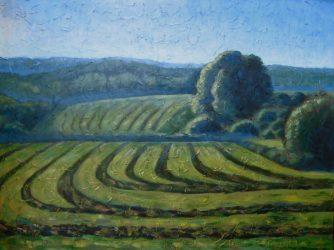 "Misty Morning in Hay Field, acrylic on canvas, 30"" x 40"", 2008"