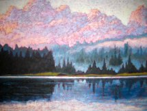 "North Shore of Guilford Lake after the rain, acrylic on texturized canvas, 30"" x 40"", 2012 SOLD"