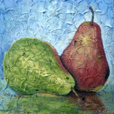 """Pair of Pears 1, Acrylic on textured canvas, 16"""" x 16"""", 2009"""