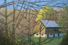 "Peeking Through the Trees, acrylic on canvas, 24"" x 36"", 2008 SOLD"