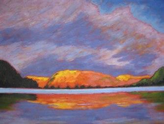 "Portage Lake in Autumn, acrylic on canvas, 30 x 40"""