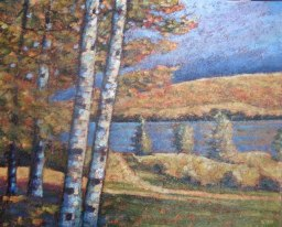 "Portage Lake from Potter's Studio, acrylic on texturized canvas, 24"" x 30"", 2011"
