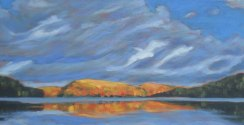 Portage Lake in autumn, acrylic on canvas, 24 x 48""