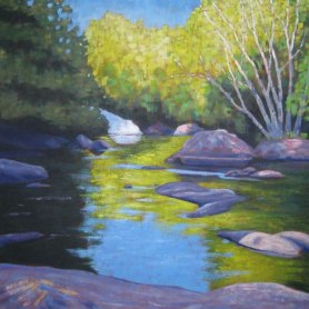 "Ritchie Falls Reflections, acrylic on canvas, 40 x 40"", 2012"